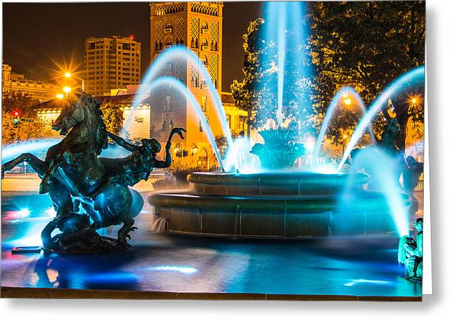 Plaza Blue Fountain Greeting Card