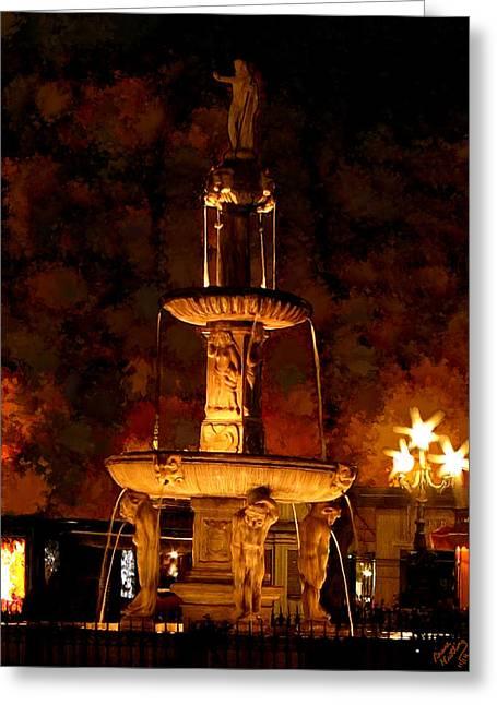 Plaza De Bib-rambla Fountain In Granada Spain Greeting Card