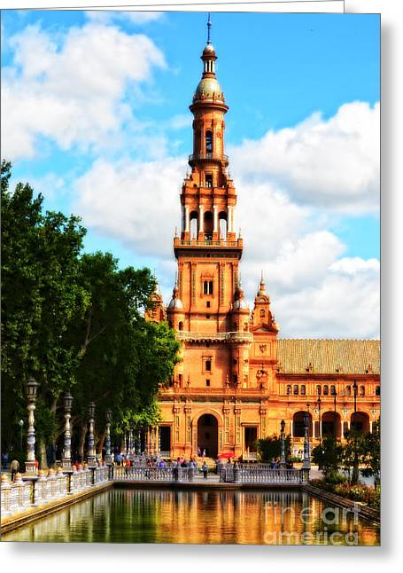 Plaza De Espana On A Sunday Afternoon Greeting Card by Mary Machare