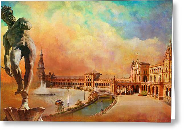 Plaza De Espana Seville Greeting Card by Catf