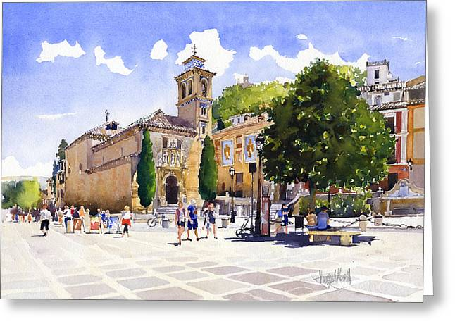 Plaza Nueva Greeting Card by Margaret Merry