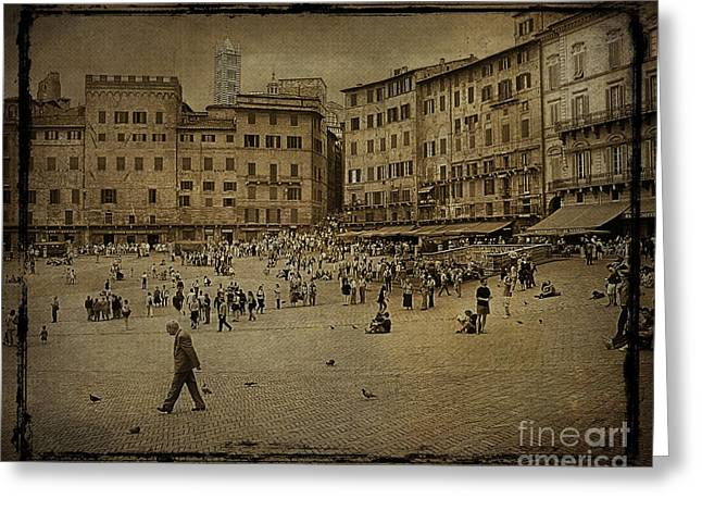 Plaza Siena Italy Greeting Card by Jim Wright