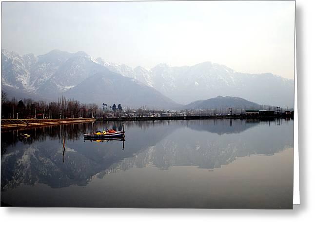 Pleasant View Of Dal Lake- Kashmir- India- Viator's Agonism Greeting Card by Vijinder Singh