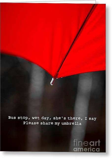 Please Share My Umbrella Greeting Card by Edward Fielding
