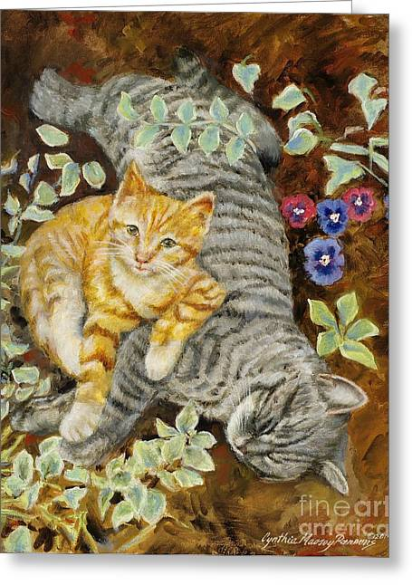 Greeting Card featuring the painting Please Wake Up It's Time To Play by Cynthia Parsons