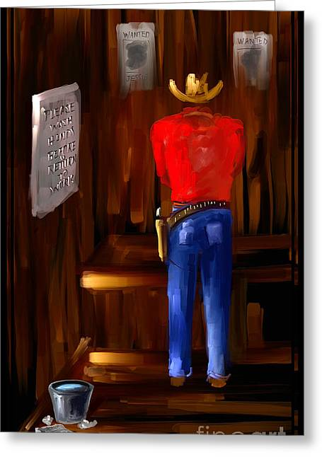 Please Wash You Hands The Wild West Series Number Two Greeting Card by Steven Lebron Langston