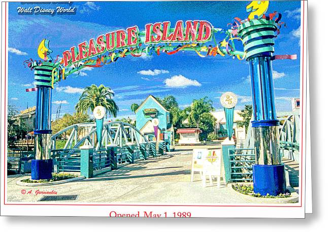 Pleasure Island Sign And Walkway Downtown Disney Greeting Card
