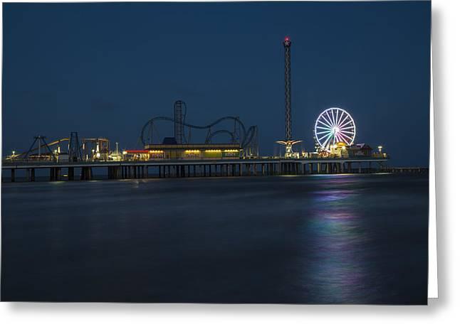 Pleasure Pier At Night  Greeting Card