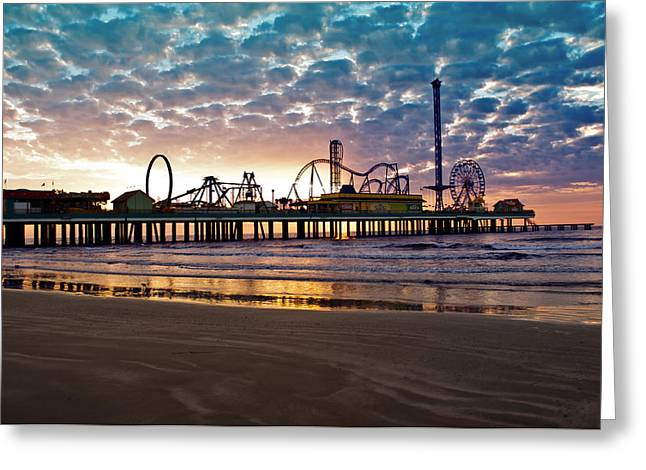 Pleasure Pier Galveston At Dawn Greeting Card by John Collins
