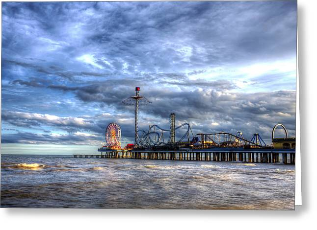 Pleasure Pier Galveston Greeting Card