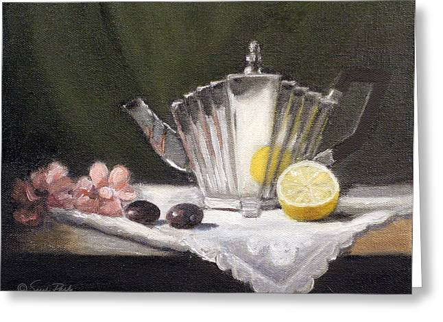 Grapes Art Deco Paintings Greeting Cards - Pleated Teapot with Lemon Greeting Card by Sarah Parks