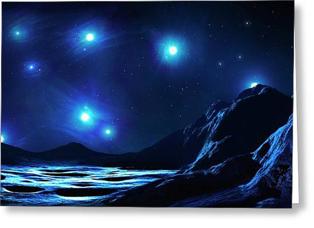 Pleiades Cluster Seen From Nearby Planet Greeting Card by Mark Garlick