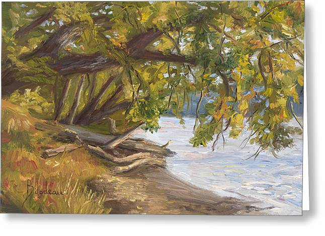 Plein Air - Chicopee River Greeting Card by Lucie Bilodeau