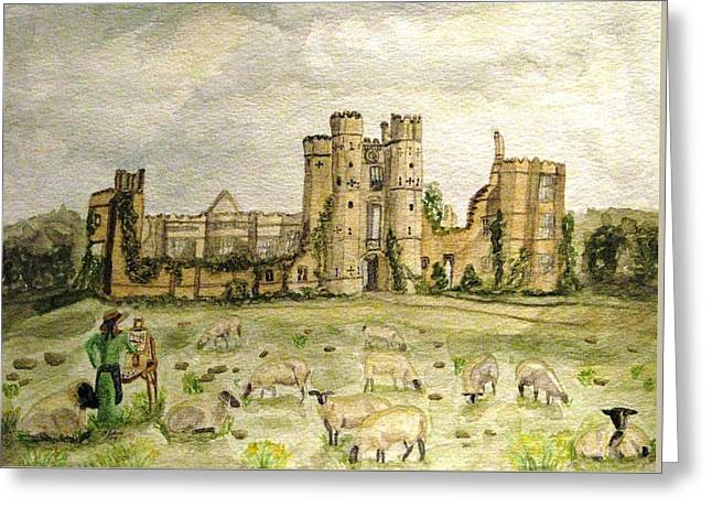 Plein Air Painting At Cowdray House Sussex Greeting Card