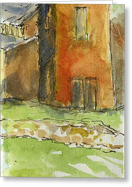 Plein Air Sketchbook. Oxnard California 2011. The Bay And Tower At Wooley Road Plaza Greeting Card by Cathy Peterson