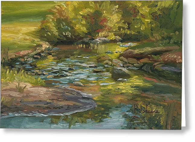 Plein Air - Stream In Forest Park Greeting Card by Lucie Bilodeau