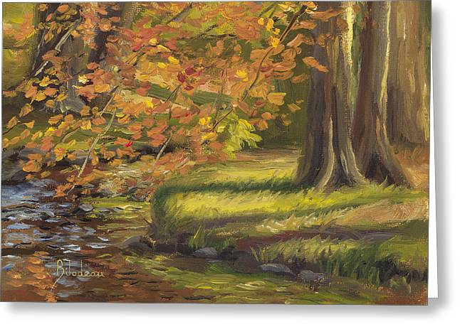 Plein Air - Trees And Stream Greeting Card by Lucie Bilodeau