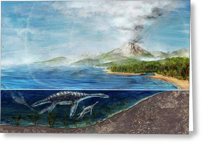Plesiosaurs And Erupting Volcano Greeting Card