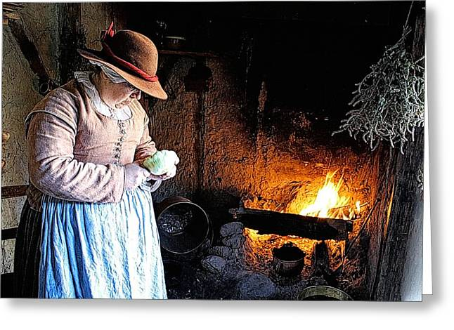 Plimoth Plantation  Pilgrim Fireplace Cooking Greeting Card by Constantine Gregory