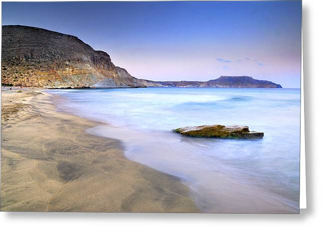 Plomo Beach At Sunset Greeting Card by Guido Montanes Castillo