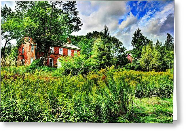 Plott Road Farmhouse Greeting Card by John Nielsen
