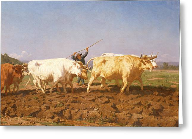 Ploughing In The Nivernais, 1850 Greeting Card