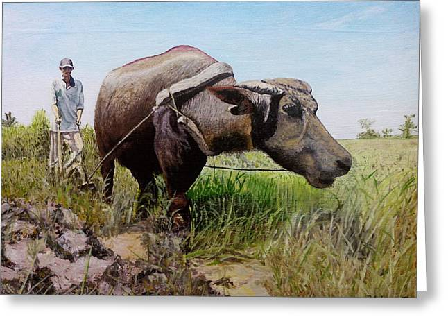 Ploughing Greeting Card by Ronald Lopez