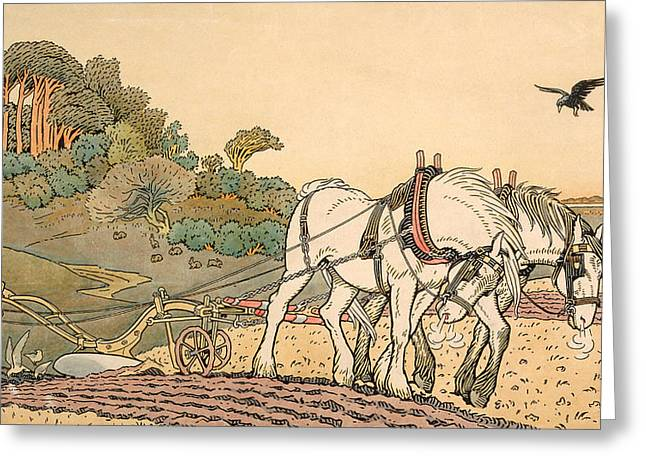 Plowing Greeting Card by English School