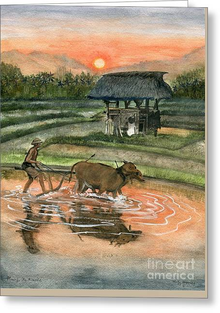 Plowing The Ricefield Greeting Card