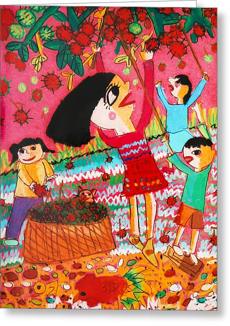 Plucking Fruits Greeting Card by Yilian Chen