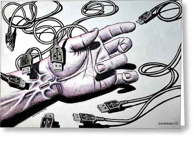 Plug And Play Pnp Greeting Card by Paulo Zerbato