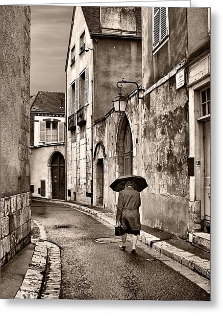 Pluie A Chartres #1 Sepia Greeting Card by Nikolyn McDonald