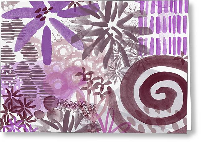 Plum And Grey Garden- Abstract Flower Painting Greeting Card by Linda Woods
