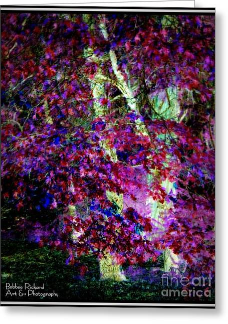Plum Pretty Greeting Card by Bobbee Rickard