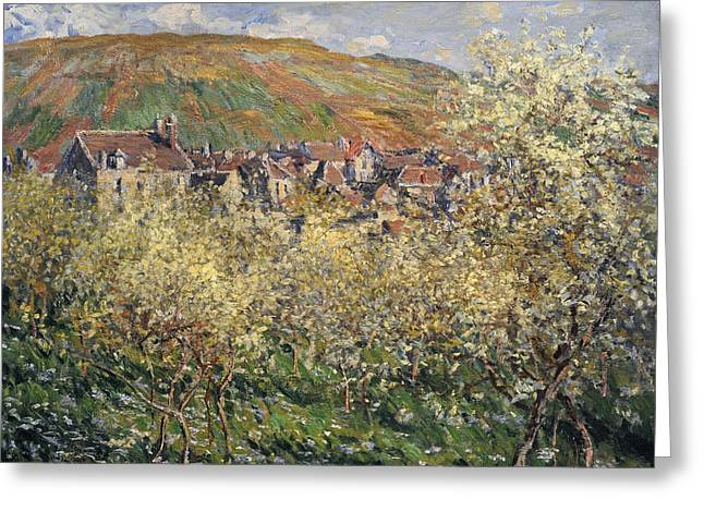 Plum Trees In Blossom At Vetheuil Greeting Card by Claude Monet