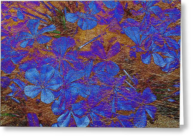 Plumbago And Gold Leaf Abstract Greeting Card