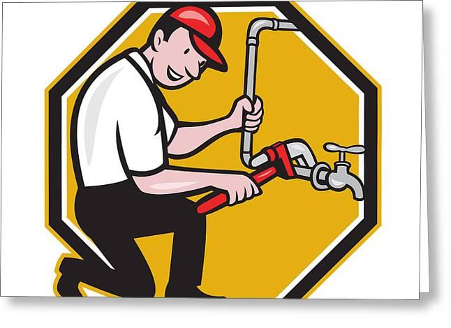 Plumber Repair Faucet Tap Cartoon Greeting Card by Aloysius Patrimonio