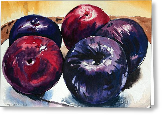 Greeting Card featuring the painting Plums by Joey Agbayani