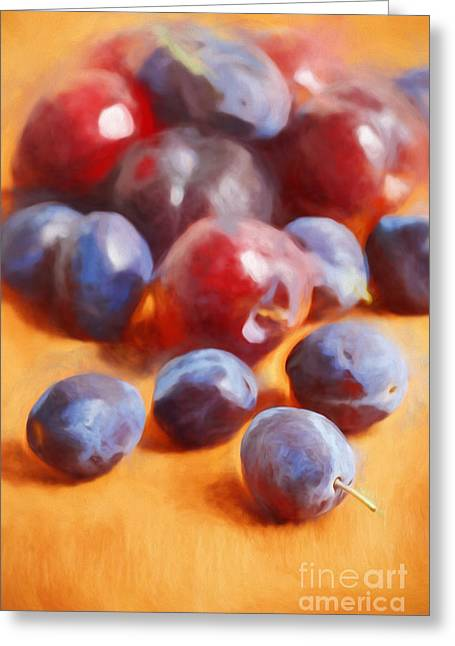 Plums On Orange Greeting Card by HD Connelly