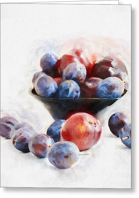 Plums On White Greeting Card by HD Connelly