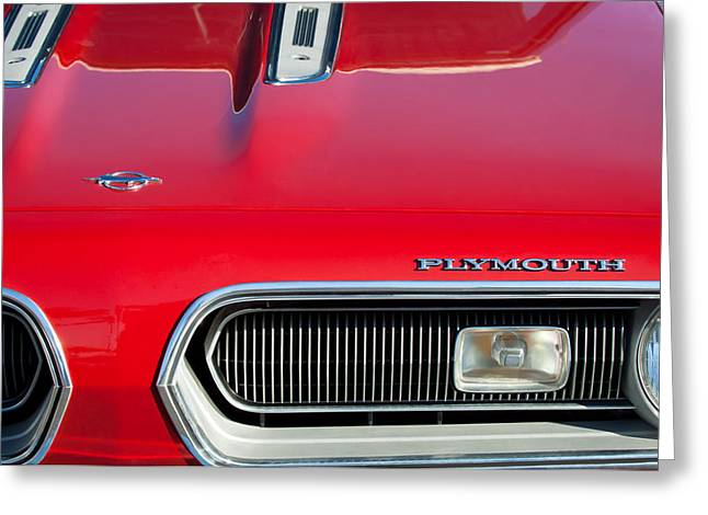 Plymouth Barracuda Grille Emblem Greeting Card by Jill Reger