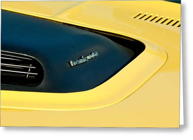 Plymouth Barracuda - Hemi Cuda - Hood Emblem Greeting Card