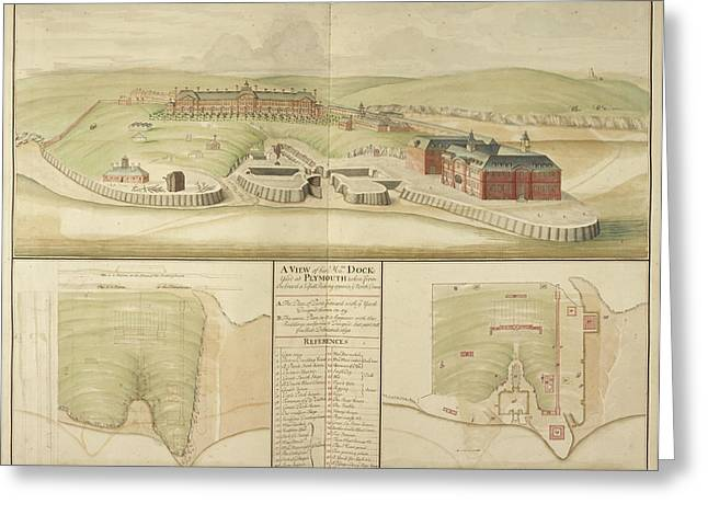 Plymouth Dockyard And Harbour In Devon Greeting Card by British Library