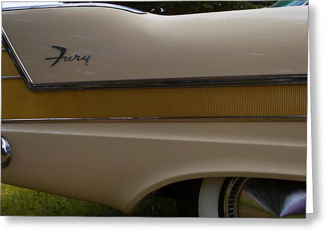 Plymouth Fury Tail Fin Detail 2 Greeting Card by Mick Flynn