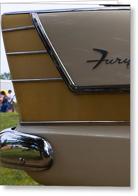 Plymouth Fury Tail Fin Detail Greeting Card by Mick Flynn