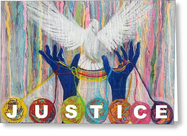 Pms 20 Justice Greeting Card by Anne Cameron Cutri