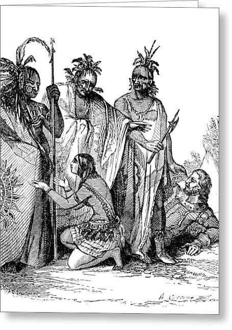 Pocahontas Saving Captain John Smith Greeting Card by British Library
