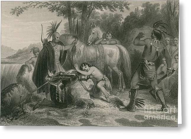 Pocahontas Saving Captain John Smith Greeting Card by Photo Researchers