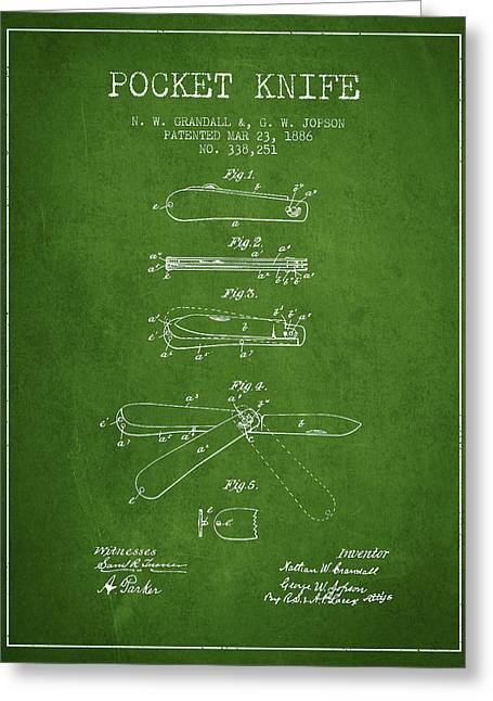 Pocket Knife Patent Drawing From 1886 - Green Greeting Card