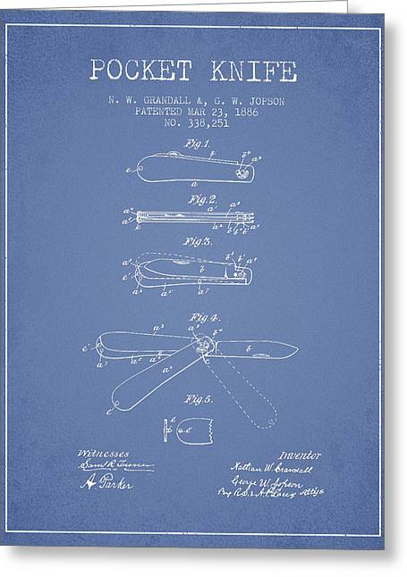 Pocket Knife Patent Drawing From 1886 - Light Blue Greeting Card